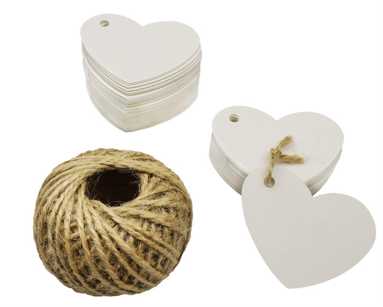 Tomkity 100 Pezzi Etichette di Carta Targhette per Regali Cartellini per Matrimonio a Forma di Cuore con Iuta Spago Tomkity-BL-100