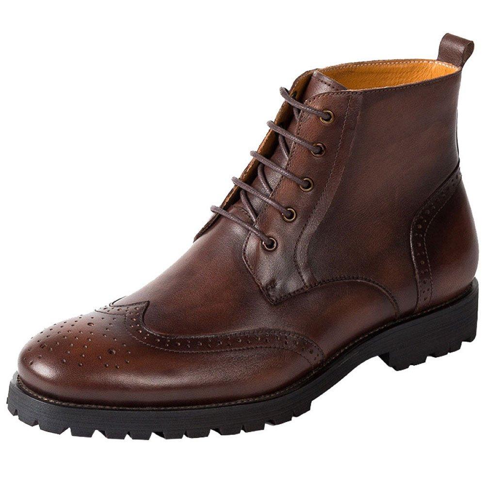 ZPJSZ Hombres Cuatro Estaciones Casual Martin Boots Moda Brock Juventud Encaje Botas De Cuero 42 EU Coffeecolor