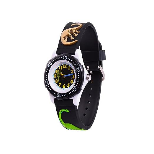 WOLFTEETH Analog Grade School Niño Niños Reloj de Pulsera con la Mano de 3D Dinosaurio Correa Dial Blanco Resistente al Agua Reloj de Pulsera de niño Negro ...