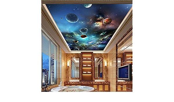 WH-PORP 3D Papel Pintado Fondo De Pantalla Personalizado 3D Foto Fresco Space Star Sistema Solar Planeta Sala De Estar Techo Zenith Mural Fondo Wallpaper-250Cmx175Cm: Amazon.es: Bricolaje y herramientas