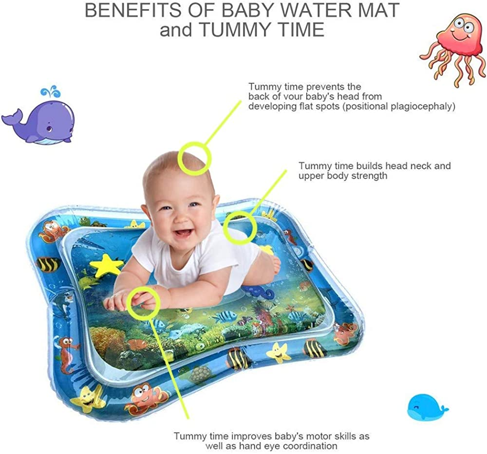 CUEYU Inflatable Water Mat for Baby Kids Play Patted Pad Infants /& Toddlers Fun Tummy Time Play Activity Center Toy for Babys Stimulation Growth Blue