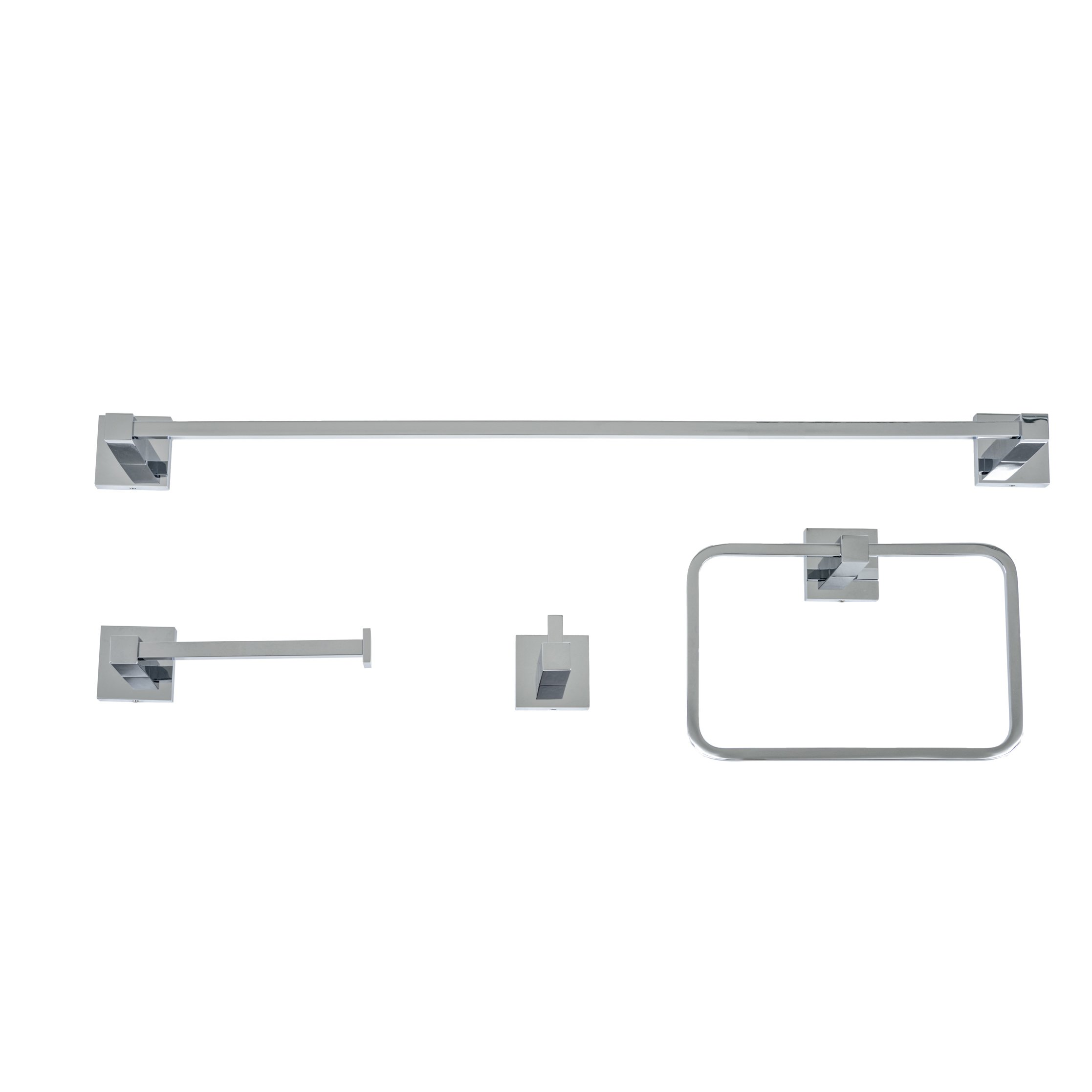 Italia CA4SET Capri 4 Piece Bathroom Accessory Set, Polished Chrome