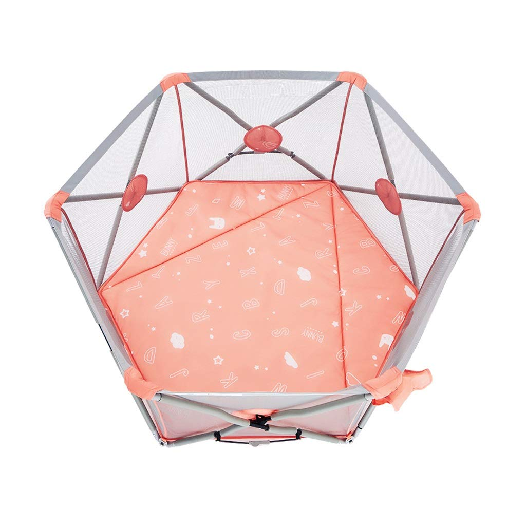 HUYP Baby Playpen Outdoor Foldable Baby Fence Retractable Boy Girl Safety Pink Toddler Play Fence Pet Fence