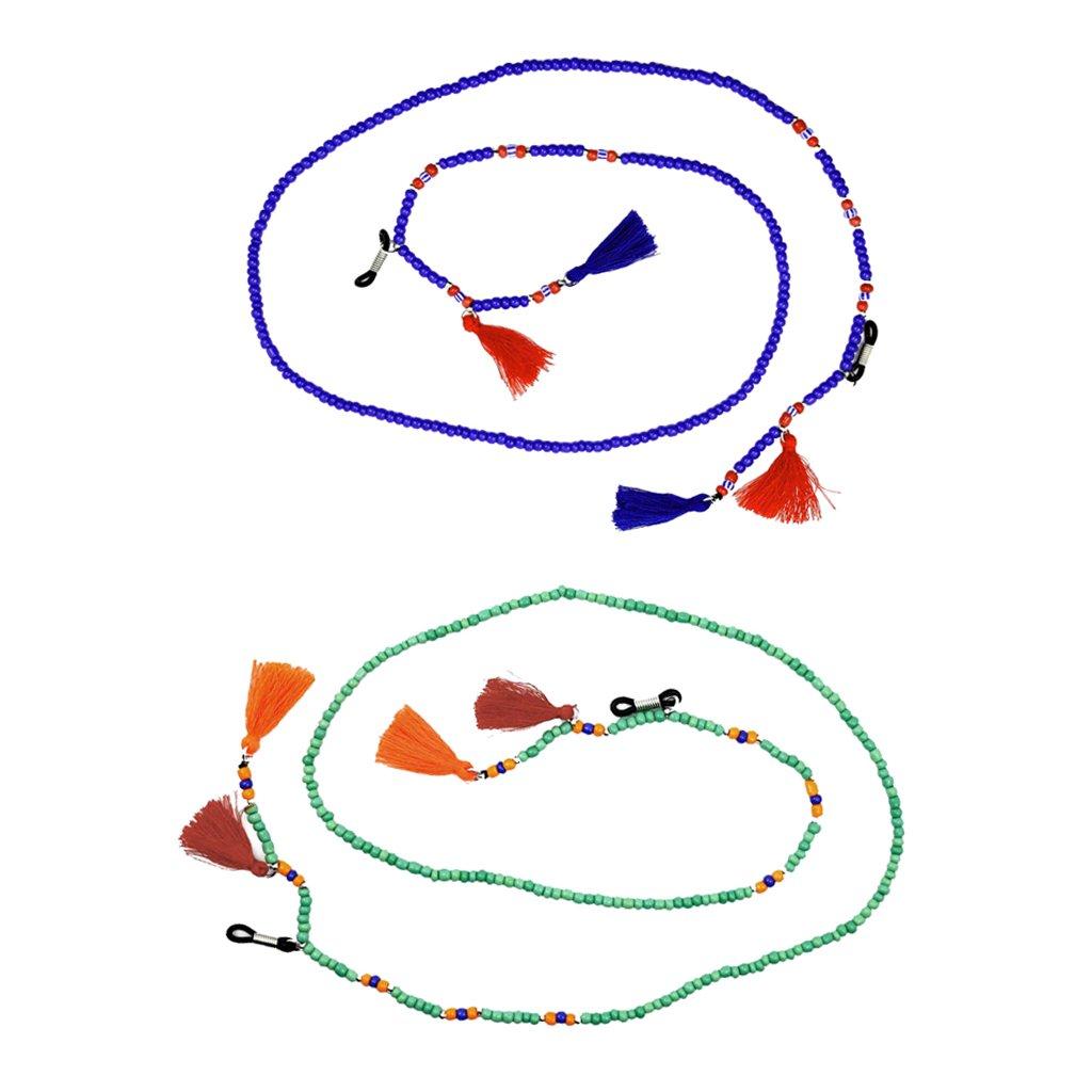 Homyl 2pcs Petites Perles Strand Avec Gland Boho Lunettes De Lecture En Verre Chaîne