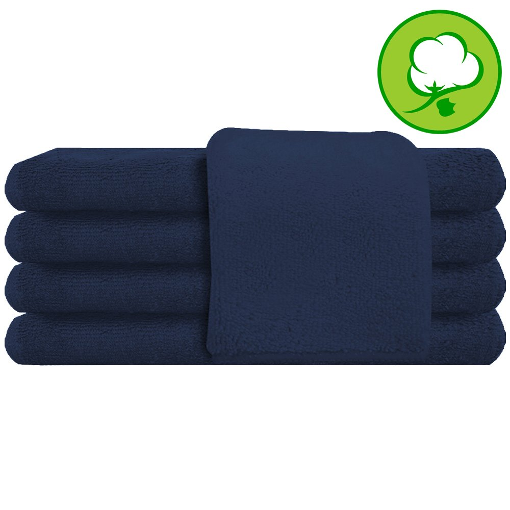 Navy Blue Salon Towel 100% Cotton 16''x27''. Hand Towel - 6 DOZEN (72 pack)