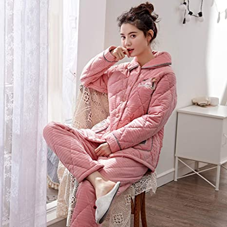 Pijamas Para Mujer Ropa De Dormir Batas Mujer Conjunto De Pijamas Camisones Ropa De Noche Algodón Acolchado De Tres Capas Terciopelo De Coral Franela Engrosamiento Bordado Rosa Cálido Elegante: Amazon.es: Deportes y