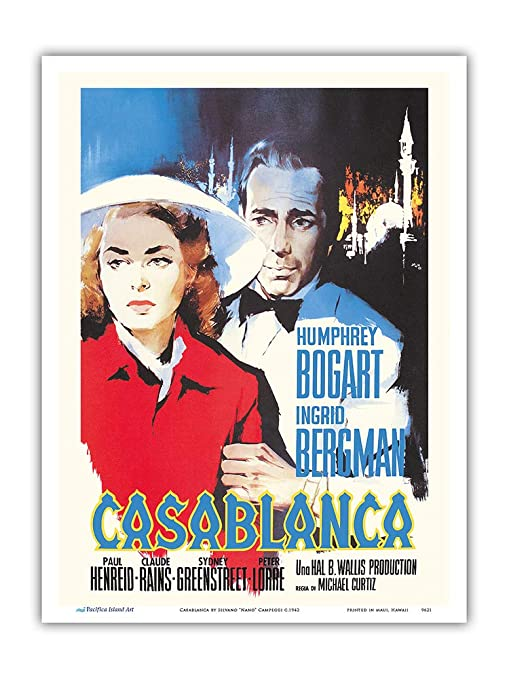 Casablanca Movie Poster Canvas Art Print Humphrey Bogart Classic Film
