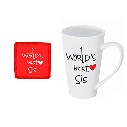 Giftsmate Birthday Gift For Sister Combo Worlds Best Latte Mug Coaster Set Of