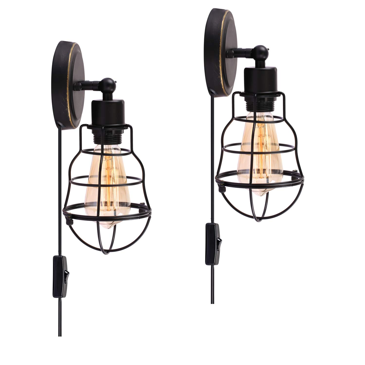 Wire Cage Industrial Wall Sconce Plug In Light Vintage Style Wiring A To Fixture Edison E26 Base For Headboard