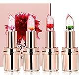 Ushion Flower Jelly Lipstick Lip Gloss Pink,Longlasting Lipstick,Fleur Gelée Rouge à Lèvre Hydratant Couleur Changeant Lipstick Waterproof- Parfumé à la Candy