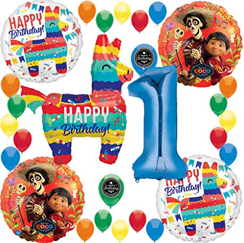 Coco Birthday Party Supplies Burro Pinata Fiesta Celebration (Choose Your Own Age) Deluxe Balloon Decoration Bundle for (1st Birthday)