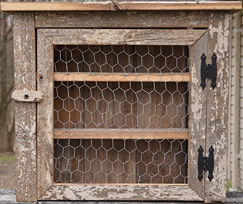 Amish Wares Barnwood Kitchen Spice/Bathroom Cabinet with Chicken Wire Door and Three Shelves Counting Bottom, Barn wood Cabinet Holds Everything From Mason Jars,To Nail Polish ()