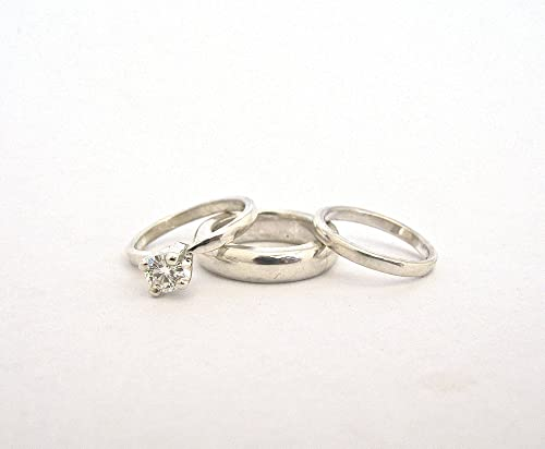 Amazon Com Sterling Silver Mini Wedding Ring Band Set Of Charms