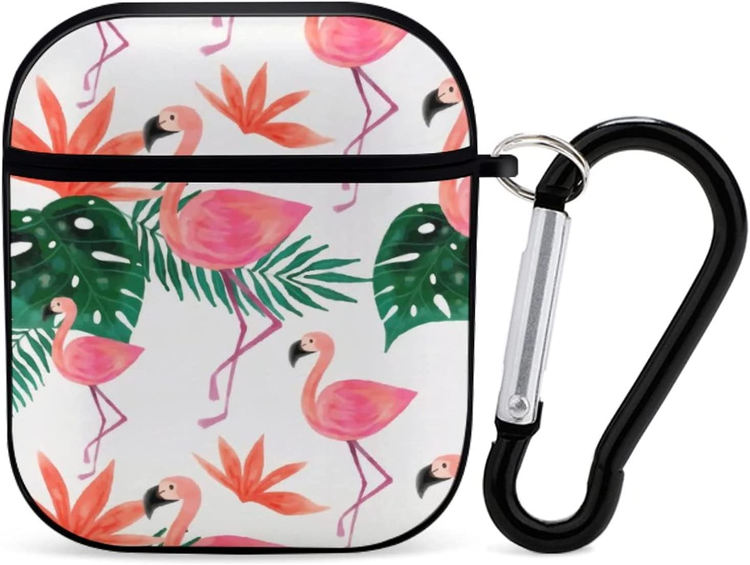 Flamingo Floral Simple Cute AirPods Case with Keychain for Apple Airpod Case 2&1 [Front LED Visible]