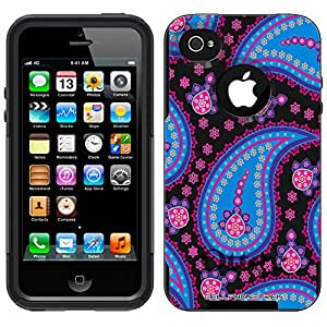 Otterbox Commuter Paisley Blue Pink on Black Case for Apple iPhone 4