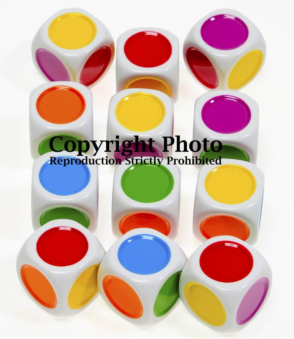 amazon com color dot 6 sided novelty dice bundle of 12