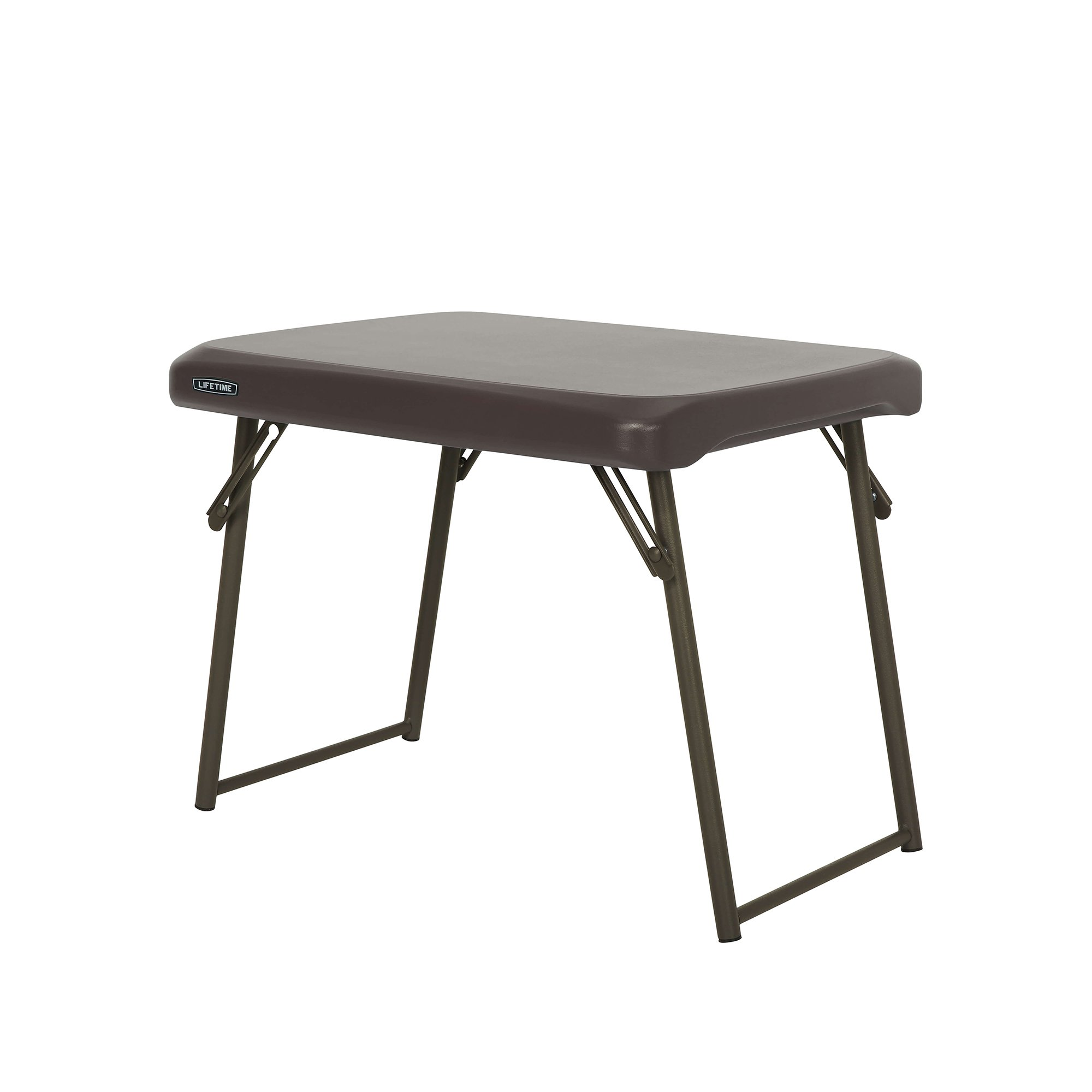 Lifetime 280488 Compact Folding Low Side Table for Camping, Brown by Lifetime