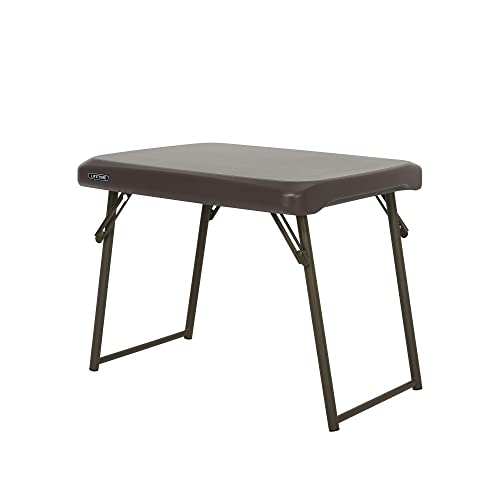 Lifetime 280488 Compact Folding Low Side Table for Camping, Brown
