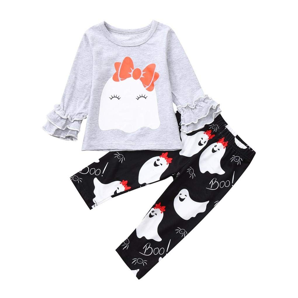 Hstore Baby Girls Halloween Long Sleeve Ruched Bowknot Tops+Pants Set Outfits HOT