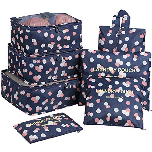 Luggage Organizer,Mossio 7 Set Compression Pouches for Suitcase Backpacking Camping Cruise Navy Daisy