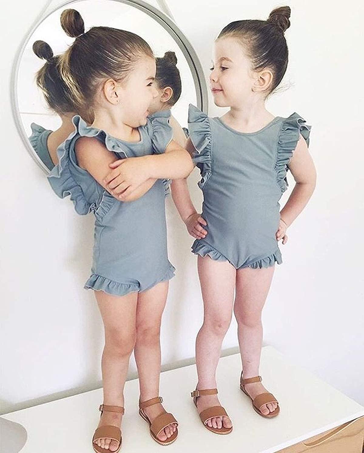 Xmasgifts Girls Ruffle Sleeve Backless Swimwear Solid One-Piece Beachwear for Kids