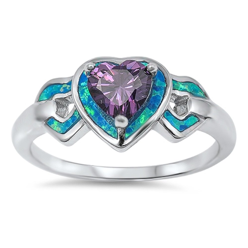 CloseoutWarehouse Triple Hearts Simulated Amethyst Cubic Zirconia Blue Simulated Opal 925 Sterling Silver Size 6