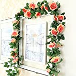 Greentime-2-Pcs-Fake-Flowers-Vine-78-FT-16-Heads-Silk-Artificial-Roses-Garland-Plant-for-Wreath-Wedding-Party-Home-Garden-Wall-Decoration-Champagne