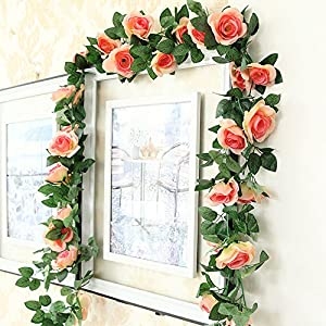 Greentime 2 Pcs Fake Flowers Vine 7.8 FT 16 Heads Silk Artificial Roses Garland Plant for Wreath Wedding Party Home Garden Wall Decoration, Champagne 3