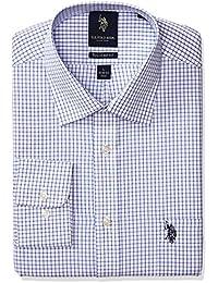 Men's Regular Fit Check Semi Spread Collar Dress Shirt