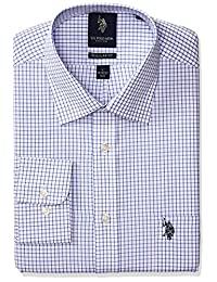 U.S. Polo Assn.. Mens Regular Fit Check Semi Spread Collar Dress Shirt