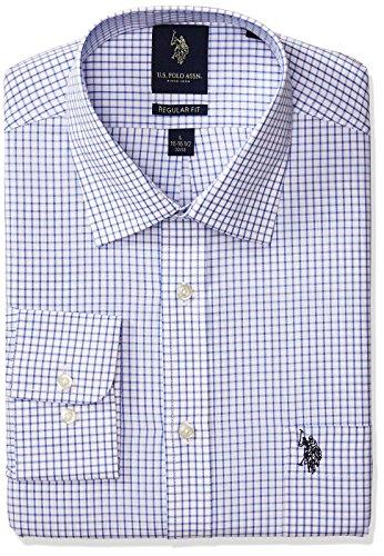 U.S. Polo Assn. Men's Regular Fit Check Semi Spread Collar Dress Shirt, Graphic Light Blue/White, 15