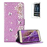 Funyye 3D Pearl Rhinestone Glitter Cover for Huawei P8 Lite,Purple Bling Diamond Lucky Butterfly Flower Magnetic Flip Wallet Cover with Stand Credit Card Silicone PU Leather Case for Huawei P8 Lite,Shockproof Non Slip Full Body Protection Cover for Huawei P8 Lite + 1 x Free Screen Protector