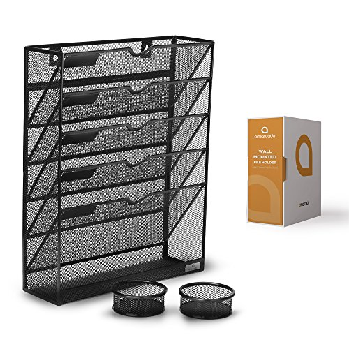 Wall Mounted File Holder - Black Mesh - 5 Tray Compartments - Includes 2 Free Matching Paperclip Pots - Hanging Mail Organizer - Letter, Literature, Document, Magazine and Folder Sorter by Amarcado (5 Pocket Literature Wall Rack)