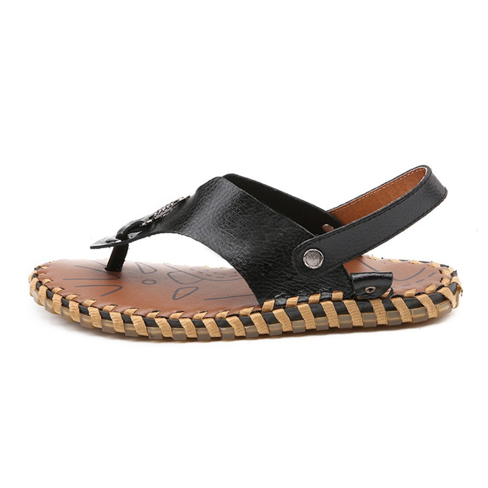 LLPSH Mens Thong Flip Flops Shoes Genuine Leather Beach Slippers Casual Handwork Non-Slip Soft Flat Sandals Indoor and Outdoor
