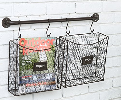 Metal Hanging Modular Chicken Wire Document Magazine Rack Holder with Wall Mounted Rod & S-Hooks (Country Baskets Wall)
