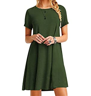 980d26a46f116 ISSHE Robe Tee Shirt Courte Femme Robe Tunique Manche Courte Robes Chemise  Droite Fluide Ample Simple
