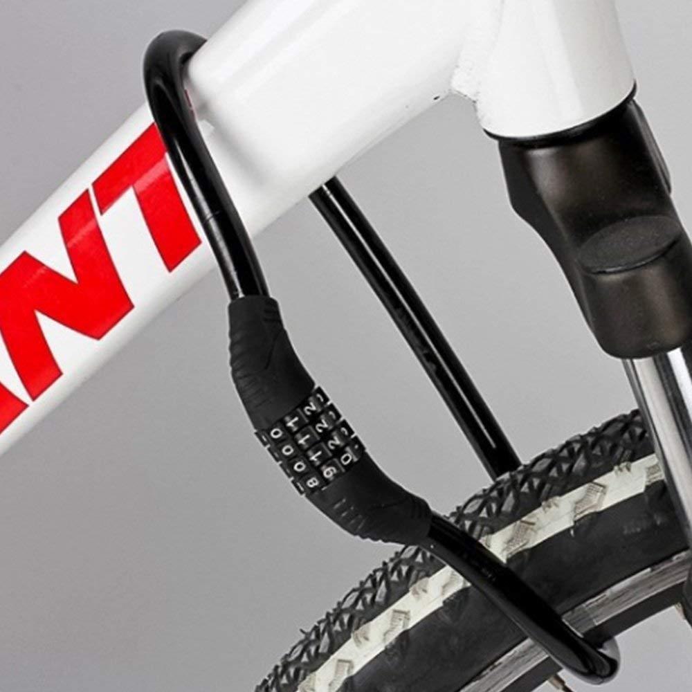 Popluxy Cerradura del cable de la combinaci/ón de la seguridad de la cerradura de la bici 4 d/ígitos que se puede restablecer para la bicicleta al aire libre
