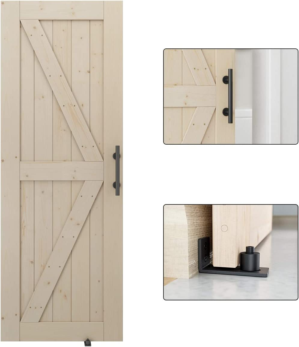DIY Unfinished Panel Environmental Fit 6FT-6.6FT Track Easy Installation K-Frame LD Build 36in x 84in Sliding Barn Wood Door Slab Solid Nature Wood