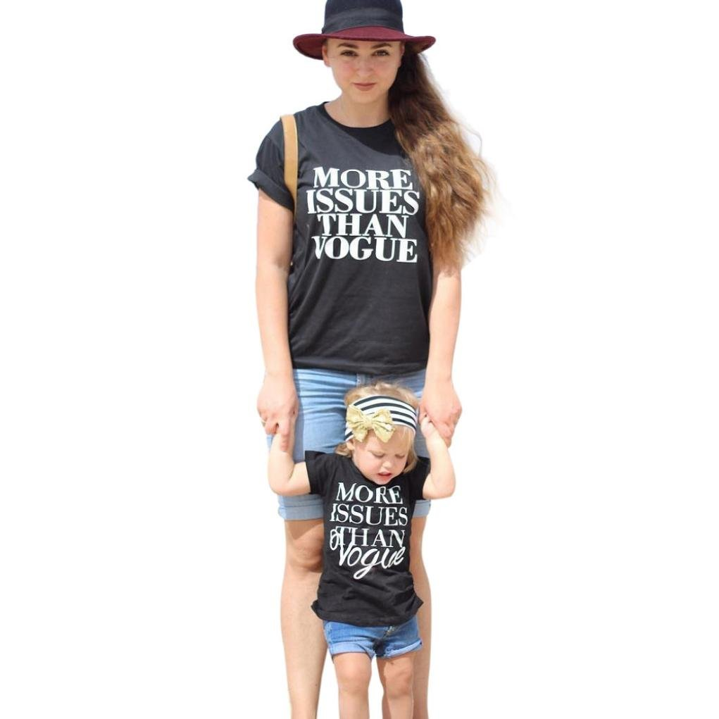 Fabal Mommy and Me Baby Kids Girl Letter T shirt Tops Shorts Pants Family Clothes Outfit Set