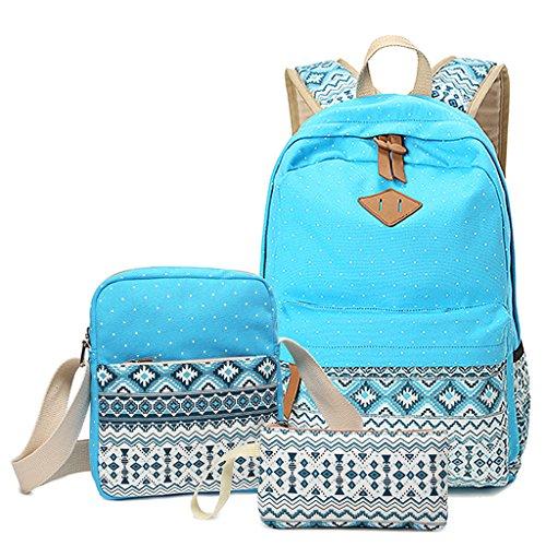Kaimeng 3 in 1 Vintage Schulrucksäcke Mode Segeltuch Tasche Reise Schulranzen Schule Rucksack + Schultertasche + Federmäppchen(Schwarz) Hellblau