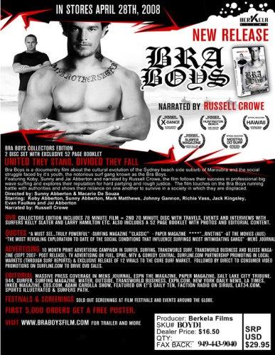 Berkela Films Presents: BRA BOYS - DVD Film- Narrated by Russel Crowe