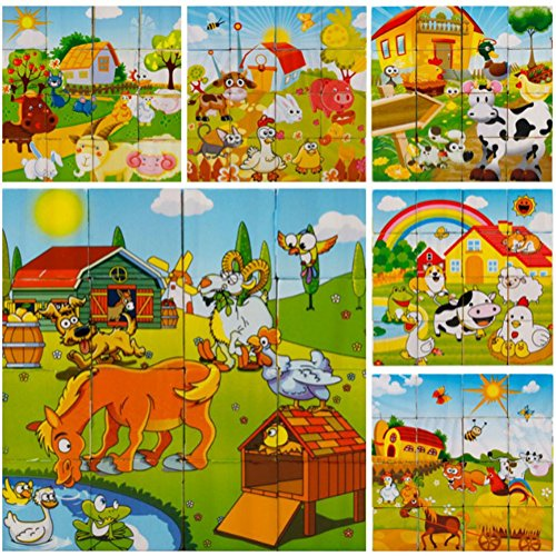 DDTOP 3D Cube Wooden Block Jigsaw Puzzles Farm Animals Including Horse Dog Cow Chicken Sheep Cat Pig Puzzle Enlightenment Non-toxic Building Block Toddler Boys and Girl Toy (16 Pcs)