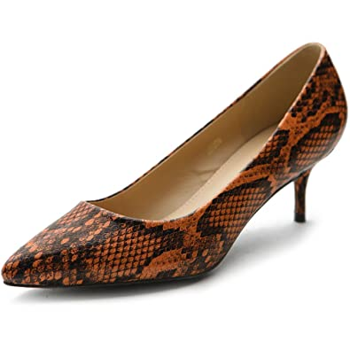 c6a3444d43 Ollio Women's Shoe Snakeskin D'Orsay Pointed Toe Multi Color Pump M5006(5.5  B