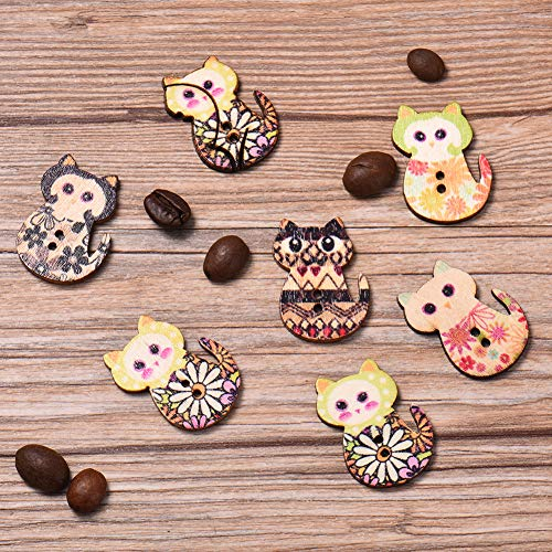Button Pinback Love (HATABO Handmade Button with Love Buttons Super Super Lovely Painted Chromatic Cat Style Wooden Buttons 50 PCS/Package Handmade Decorative 2 Holes Wooden Buttons for Children)