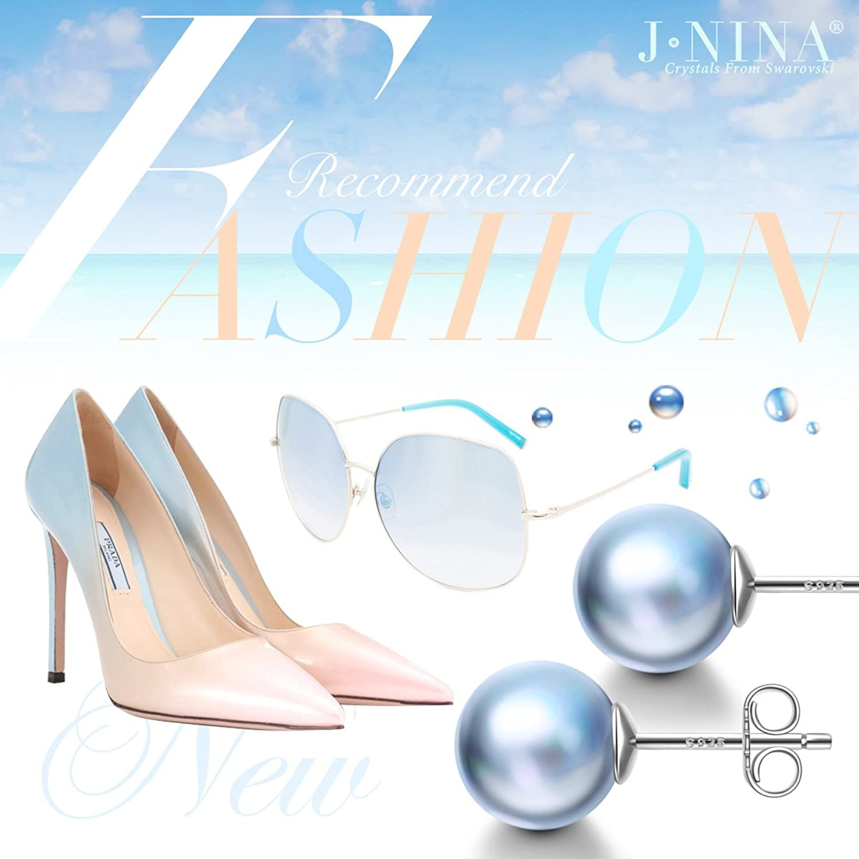 Amazon.com: J.NINA 925 Sterling Silver Stud Earrings Light Blue Pearl  Earrings from Swarovski Fashion Ball-style Earring for Women Birthday for  Wife ...