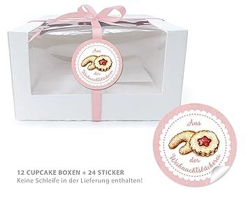 '12 cupcake Patisserie bio Cajas + 24 pegatinas: 12 Regalo de cajas con