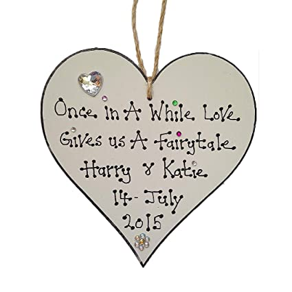 Handmade Personalised Wooden Heart Wedding Valentines Gift Plaque Sign Love