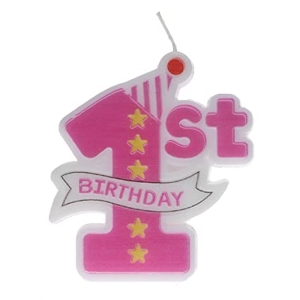 Onpiece 1st Birthday Cake Candles Moulded Number Topper Party Pink