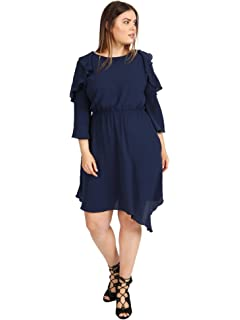 f6b66078044 Lovedrobe Women s Navy Blue Asymmetric Skater Dress with Frill Detail  Ladies Plus Size 16-26