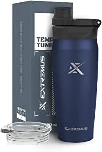 Extremus Temps Stainless Steel Vacuum Insulated Tumbler with 100% Leak-Proof Travel Coffee Mug Lid and Water Bottle Lid(20 oz,Navy Blue, 2 Lids)